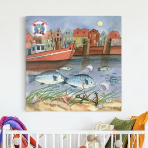 Leinwandbild-Die-kleine-Seenadel---Hafen-Quadrat-1